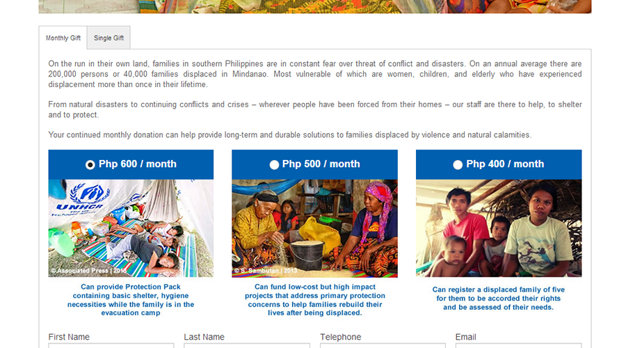 UNHCR Philippines Donate Page